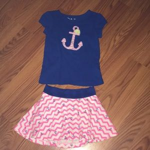 Jumping Beans matching skirt and top outfit, 2t